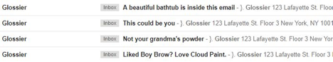 Glossier subject lines