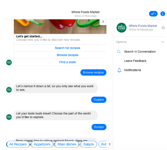 Whole Foods Market chatbot