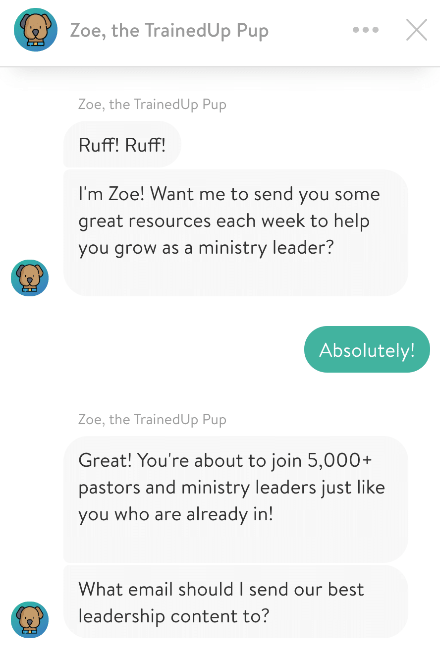 Zoe, the TrainedUp Pup chatbot