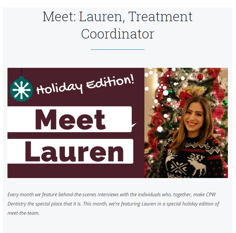 CPW Dentistry holiday email marketing