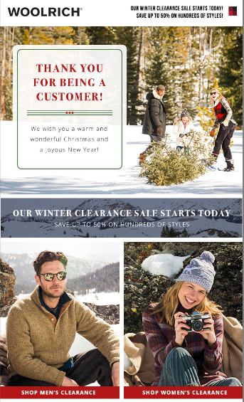 Woolrich holiday email marketing