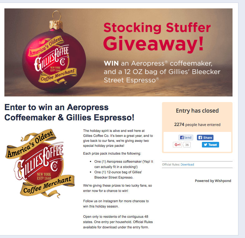 Gillies Coffee Co holiday email marketing