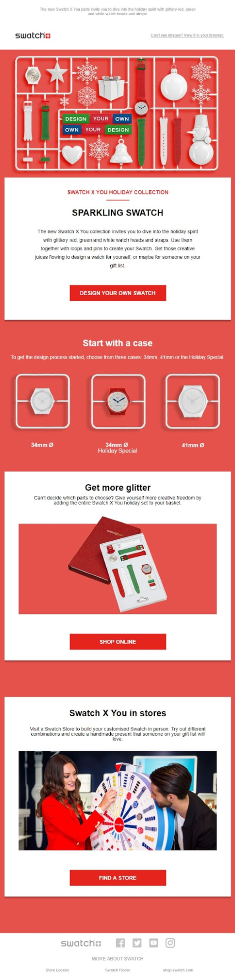 Swatch holiday email marketing