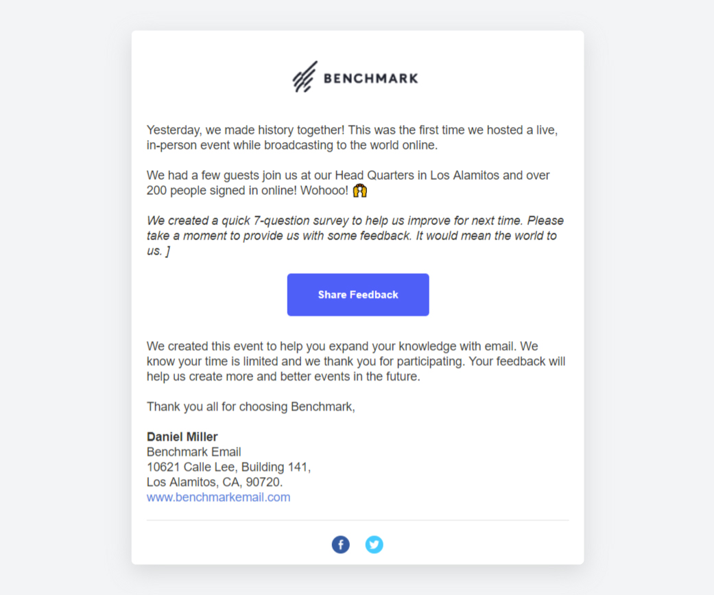 Benchmark Email's Feedback Request email