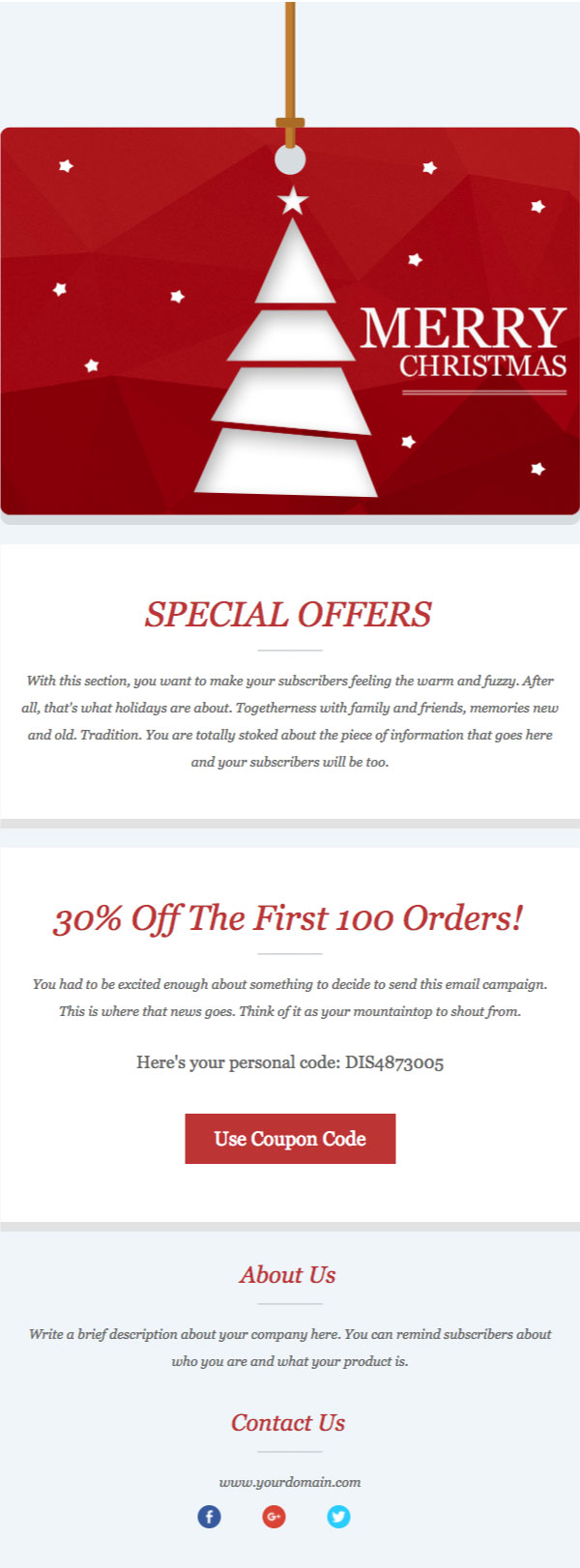 Free HTML Email Templates From Benchmark Email - Special offer email template