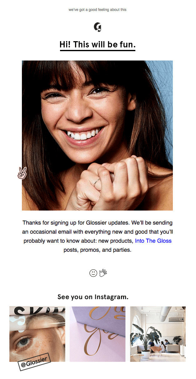Glossier Welcome Email