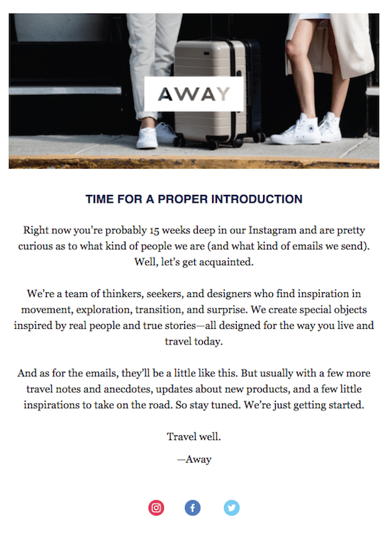 Away Welcome Email
