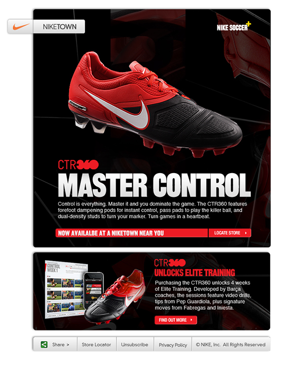 Niketown Email Example using red