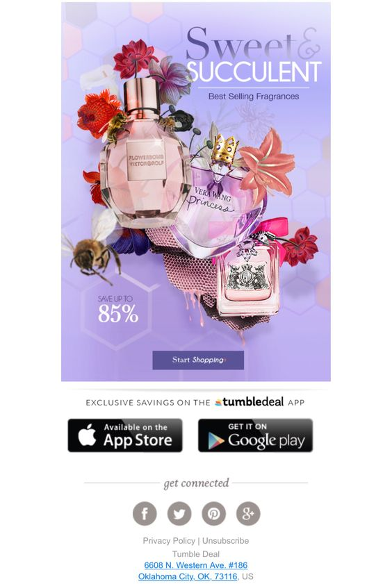 Tumble Deal email example using purple