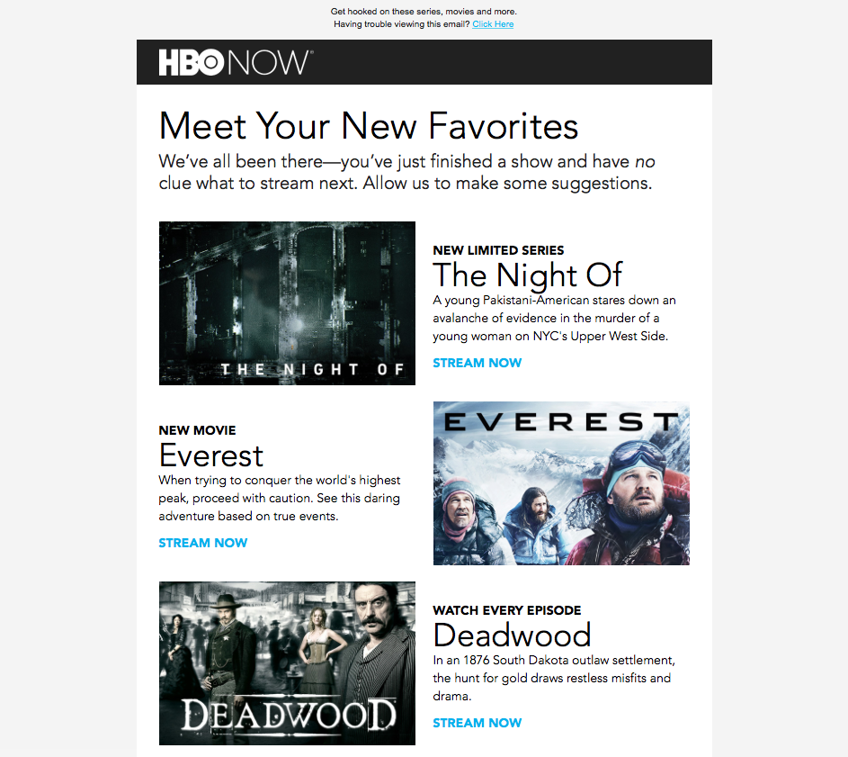 HBO Now email campaign