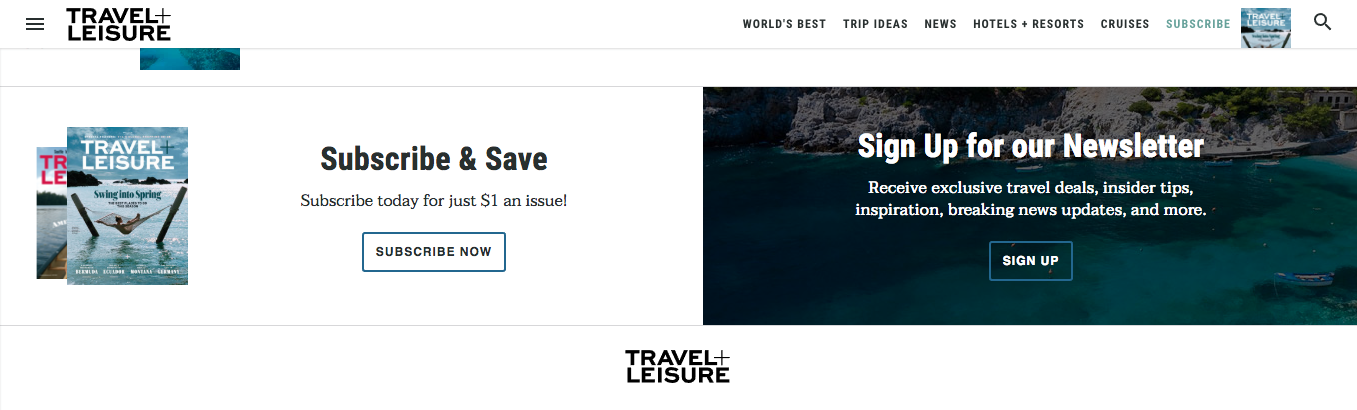 Travel + Leisure signup form