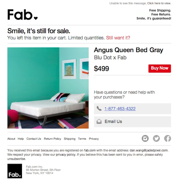 Fab abandonment cart email