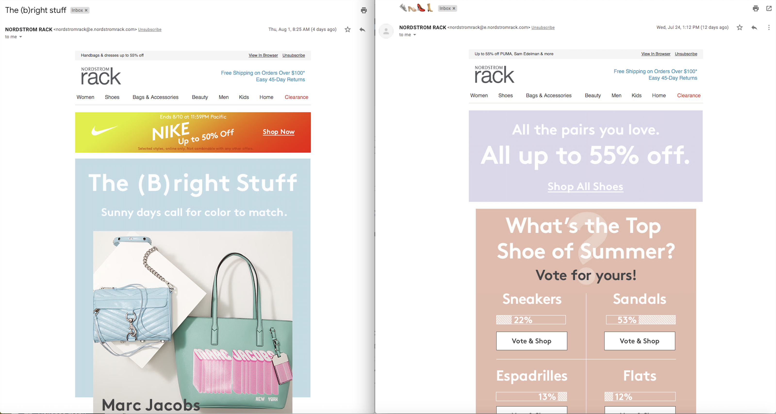Nordstrom Rack side by side email