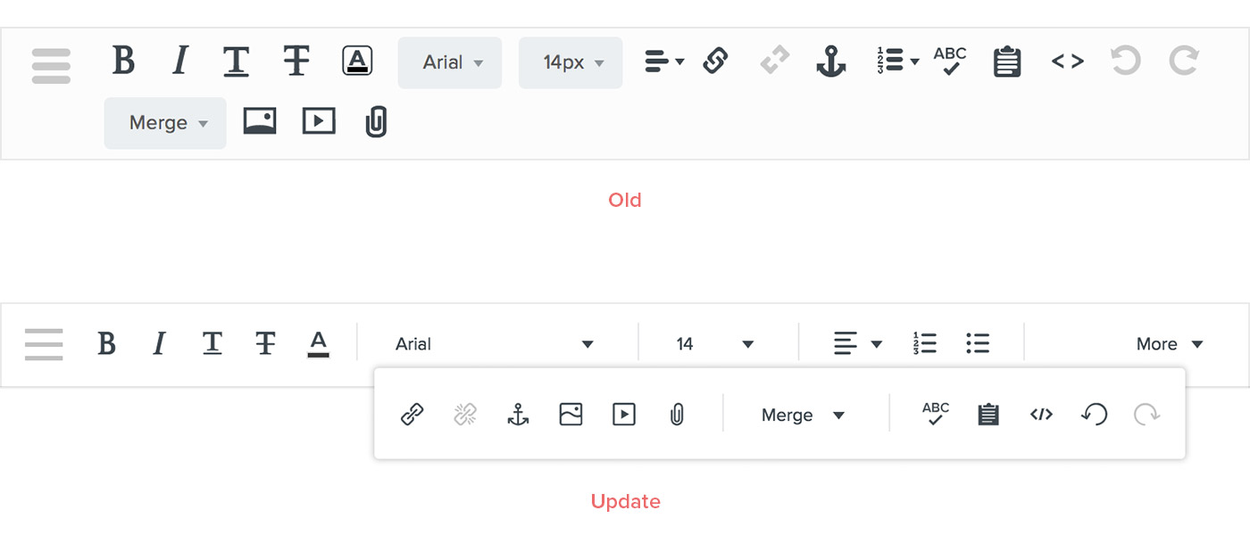 Behavior update to text editing toolbar