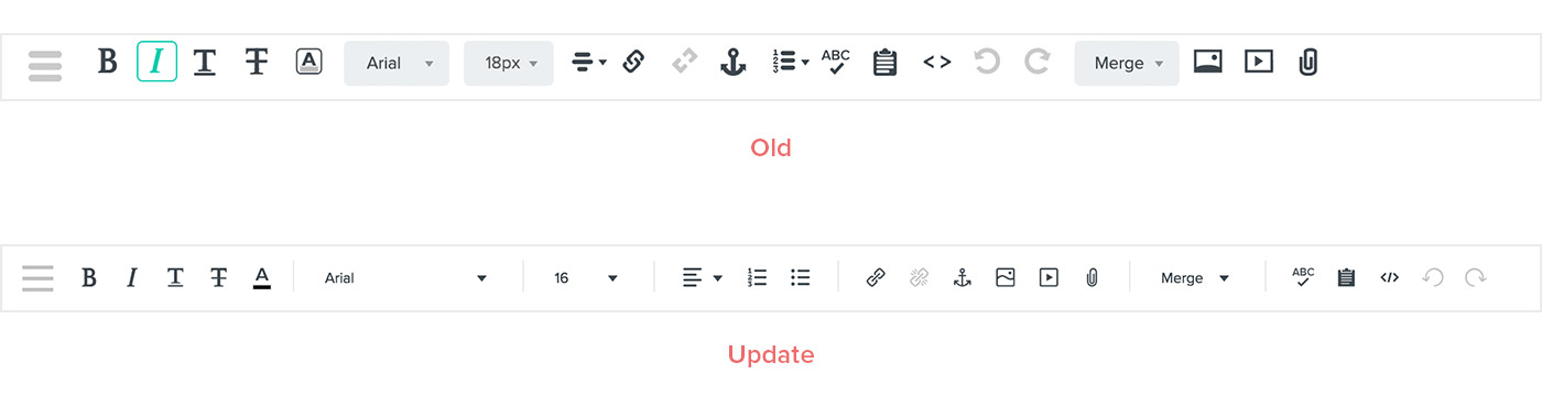 Icon update to text editing toolbar