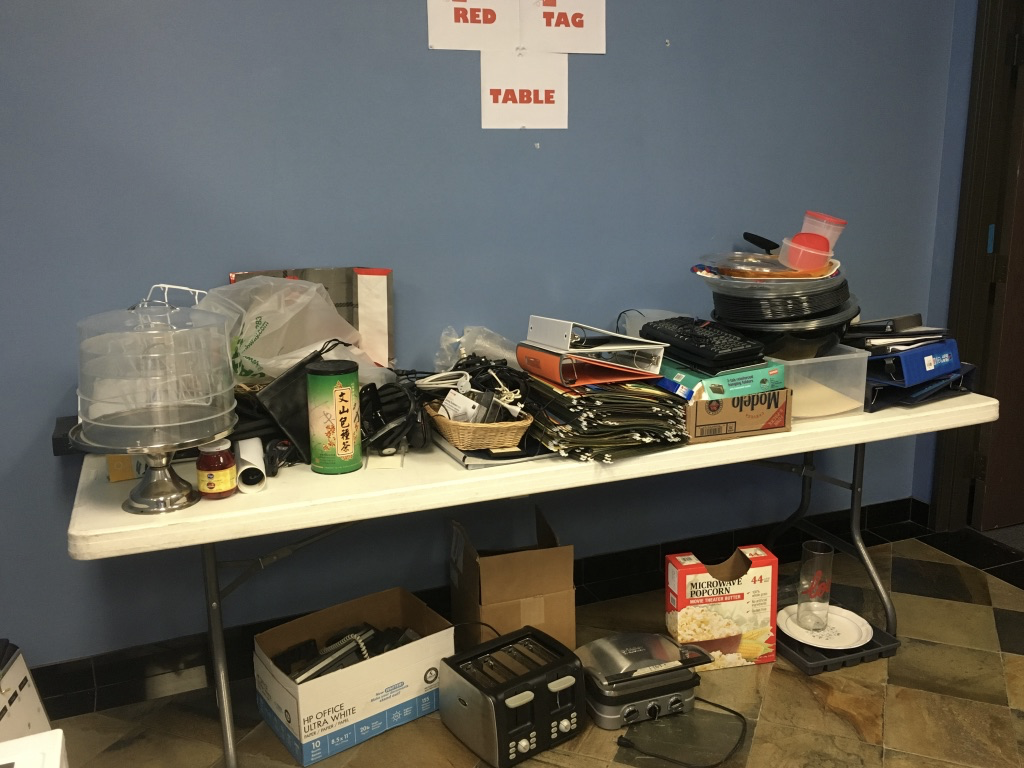Items to be taken home or donated