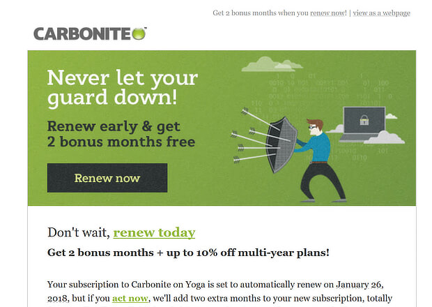 Carbonite renewal email example