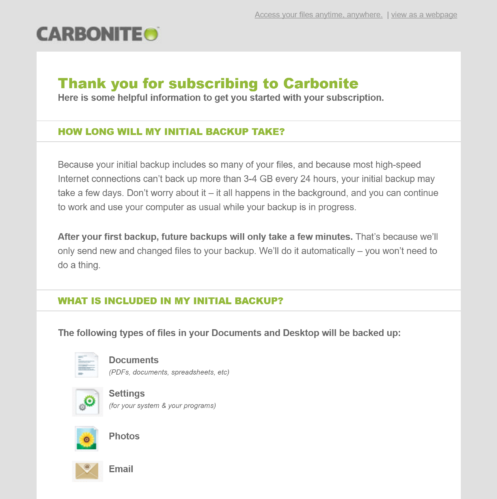 Carbonite Welcome Email