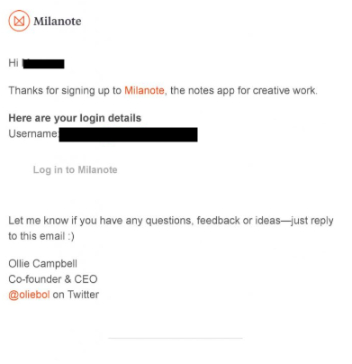 Milanote email