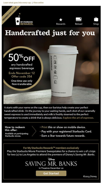 Starbucks email without personalization