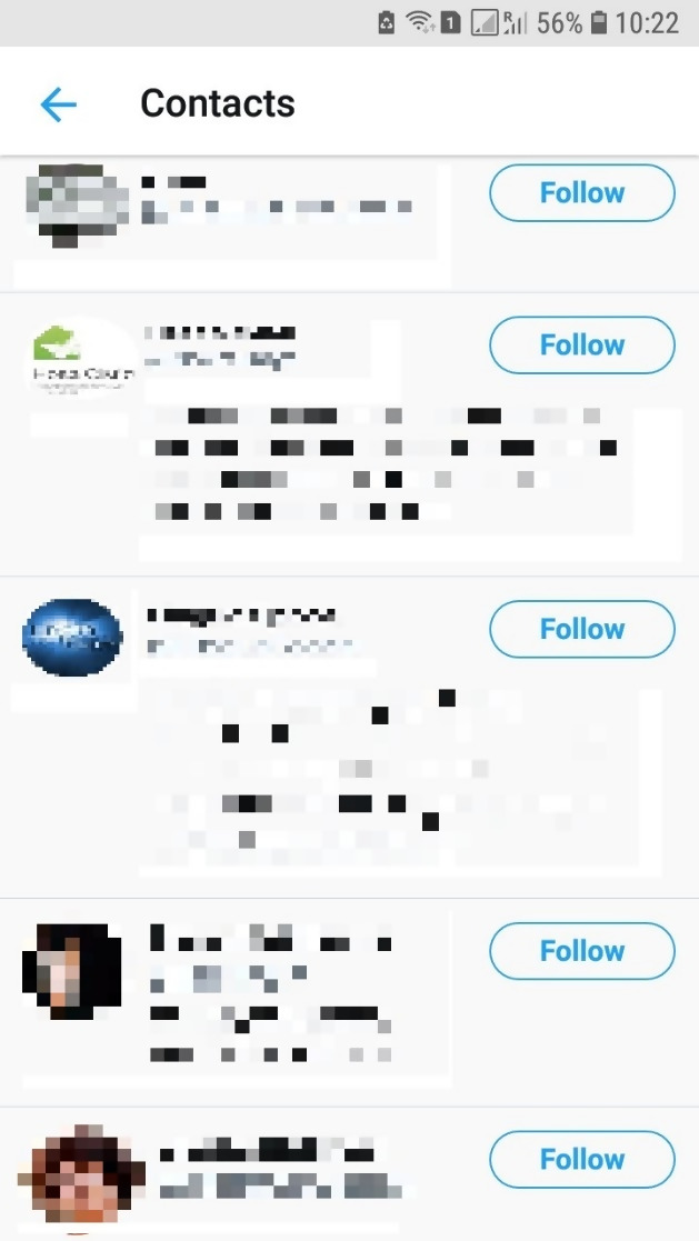 Twitter Contacts connect