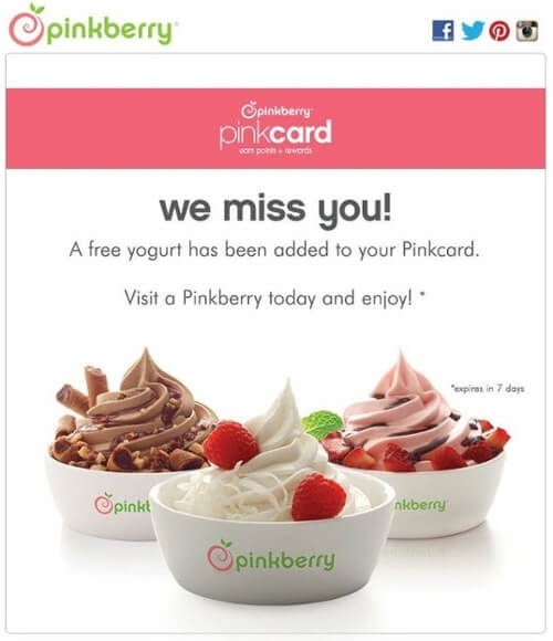 Pinkberry Pinkcard re-engagement email