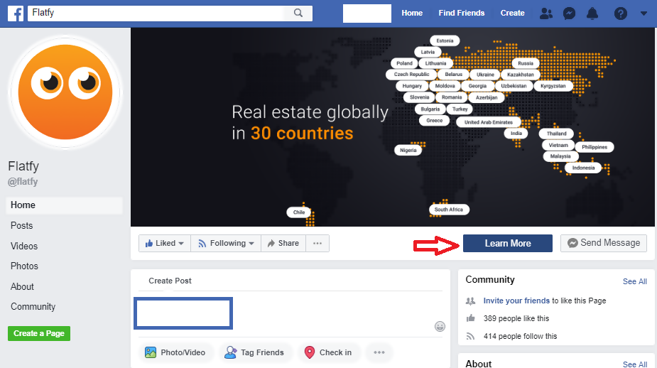 Flatfy Facebook page