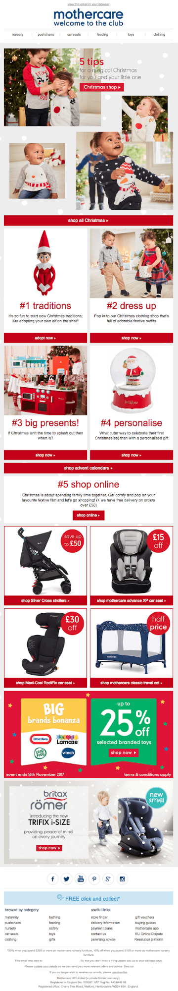 MotherCare holdiay email marketing