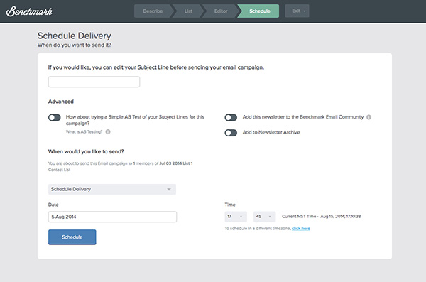 Email Schedule Delivery Page Redesigned